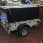 Ifor Williams P5e mesh side with solid ramp tailgate trailer cover in black