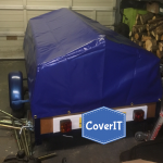 Custom made apex style trailer cover In blue