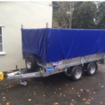 Ifor Williams LM105 mesh side trailer cover with opening front and back in blue