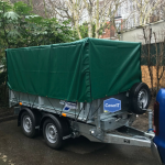Ifor Williams TT2515 mesh side trailer cover in green